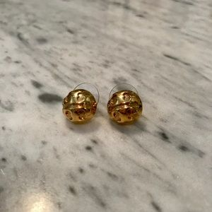 Tory Burch Round Logo Stud Earrings